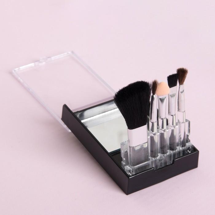 Набор кистей для макияжа, 5 предметов, в пластиковой коробке, цвета МИКС