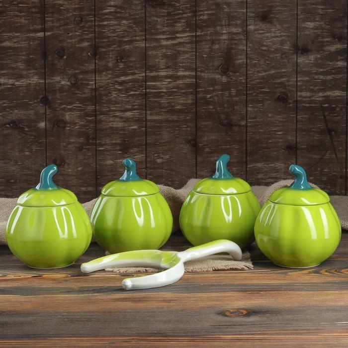 """Набор для жаркого """"Тыква"""", цвет зеленый, 5 предметов: 4 горшка 0.8 л, рогач,"""