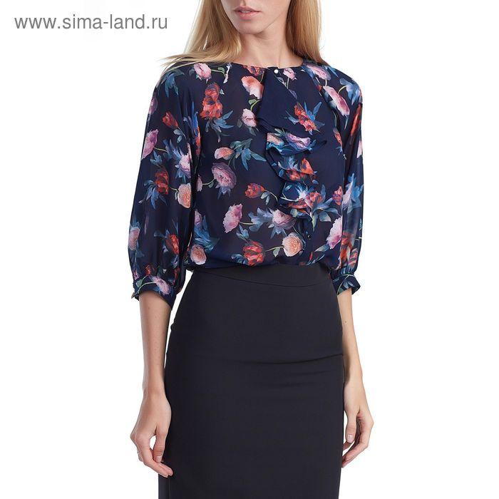 Блуза женская 160825-9277-4 темно-синий, р-р 44