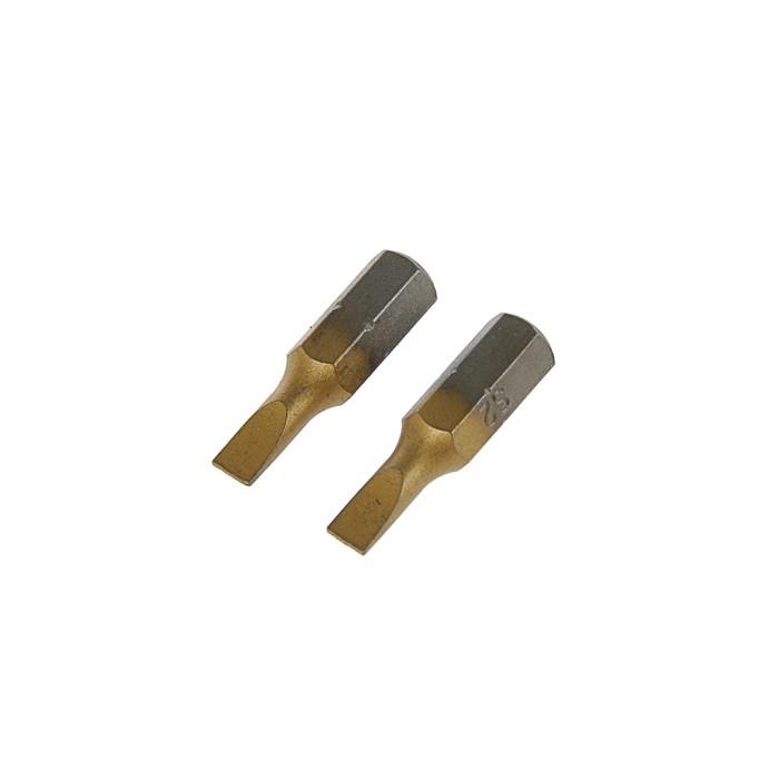 Биты TUNDRA, намагниченные, сталь S2, TiN, SL4 х 25 мм, 2 шт.