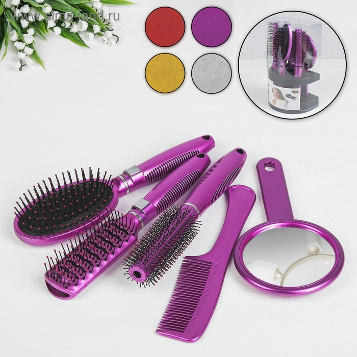 Набор 5 предметов: расчёска с ручкой, расчёска массажная(2шт), брашинг, зеркало, 26см, цвет МИКС