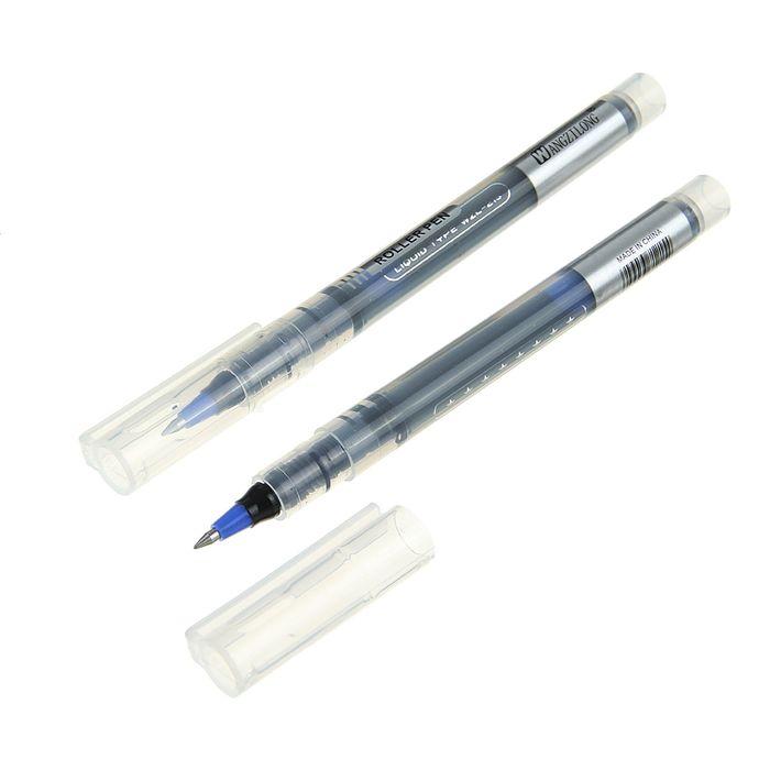 Ручка роллер 0,5мм черная корпус прозрачный с серебряными вставками