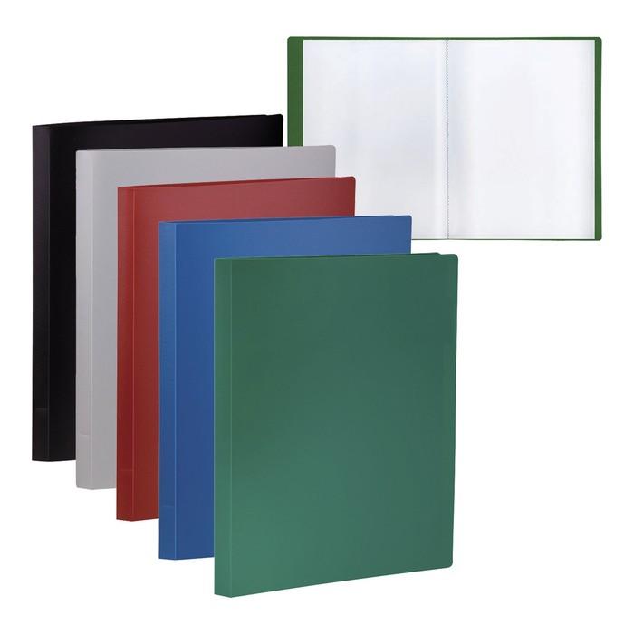 Папка с 10 прозрачными вкладышами А4 Office, 350 мкм, красная