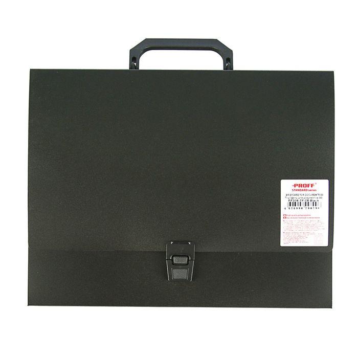 Папка-портфель на замке А4, Standard 700 мкм, 1 отделение, чёрная