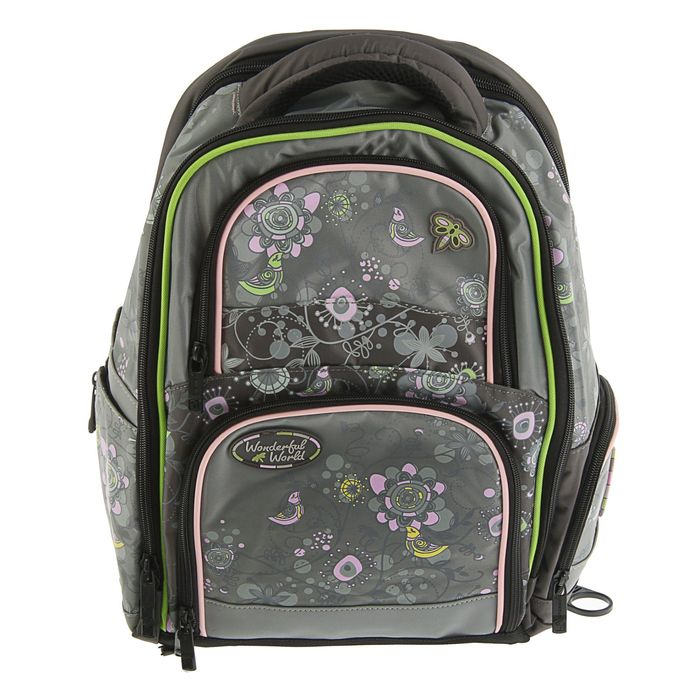 Рюкзак школьный эргономичная спинка для девочки Steiner 4101-156, 41*30*17 «Цветы», серый 4101-156