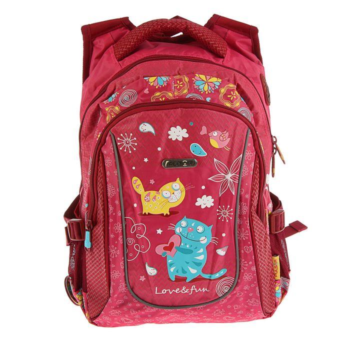 Рюкзак школьный эргономичная спинка для девочки Pulsar 4-Р4, 38*25*20 «Кот» розовый 4-Р4
