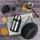 Термос туристический вакуумный «Командор» с телескопической ручкой, 1000 мл, 2 кружки, 24 ч, хром