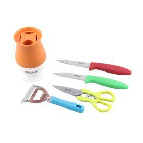 Набор Linea PRESTO, 5 предметов: нож для овощей, нож универсальный, овощечистка, открывалка, подставка