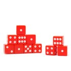 Dice 1.6x1.6 cm, transparent red, packing 100 PCs