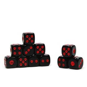Кости игральные 1.2х1.2 см, черные, красные точки, фасовка 100шт