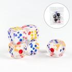 Кости игральные 2,5 × 2,5 см, набор 5 шт., прозрачные