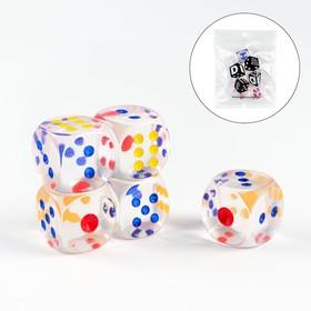 Кости игральные 2.5х2.5 см, прозрачные, набор 5 шт