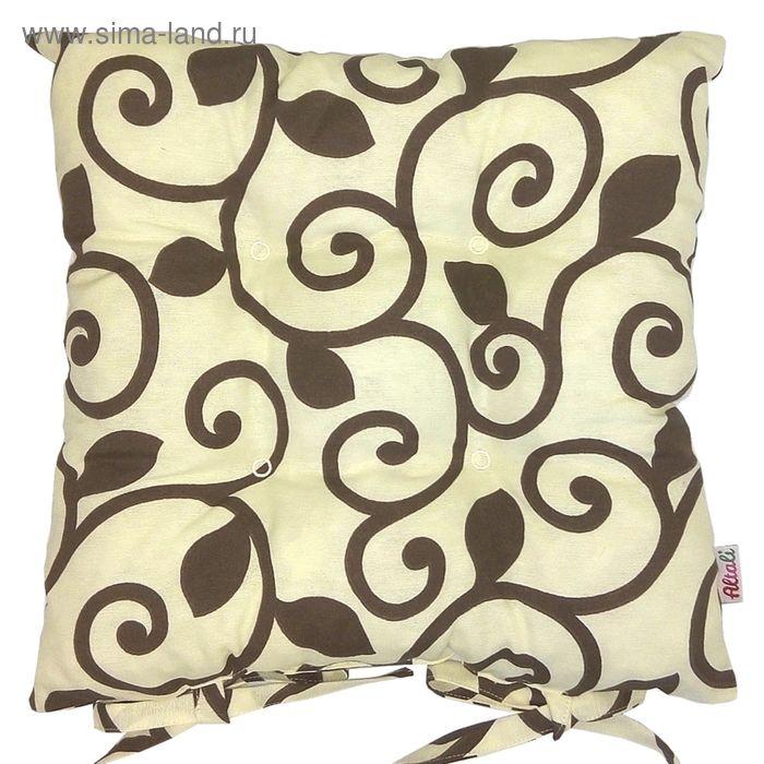 """Подушка на стул с рисунком """"Верде"""", размер 41х41 см, цвет шоколад"""
