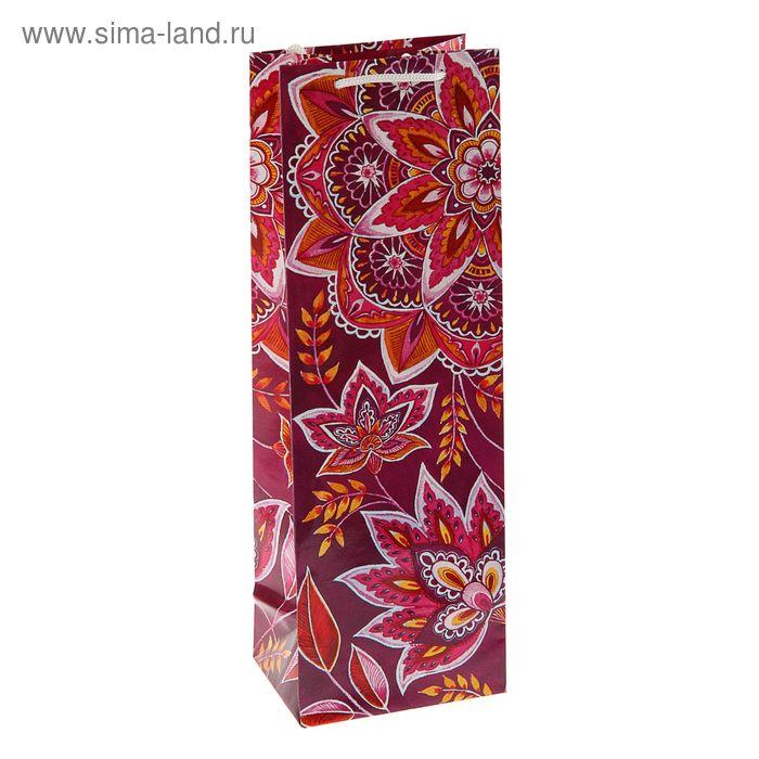 "Пакет подарочный под бутылку ""Арабеска"" , 36 х 12 х 8.5 см"