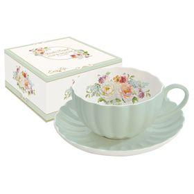 """Чашка с блюдцем """"Королевский сад"""", зелёная"""