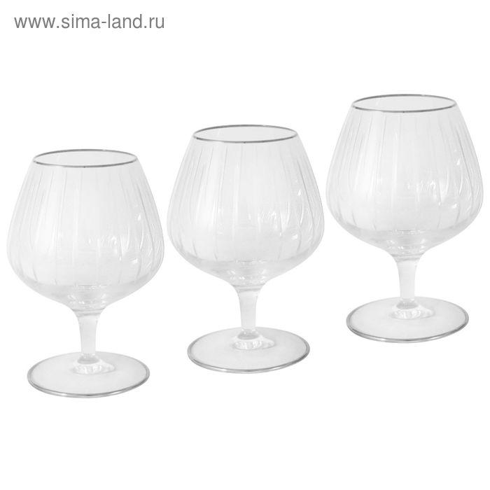 """Набор """"Пиза серебро"""", 6 хрустальных бокалов для коньяка, 0,375 л"""