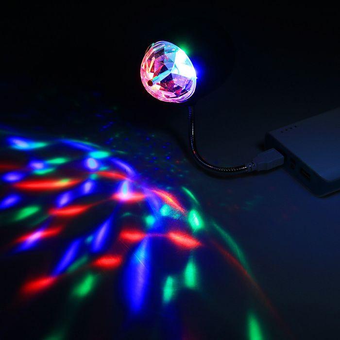 Светильник-дисколампа от USB, 5 Вт, l - 19 см,  d - 6 см  черный