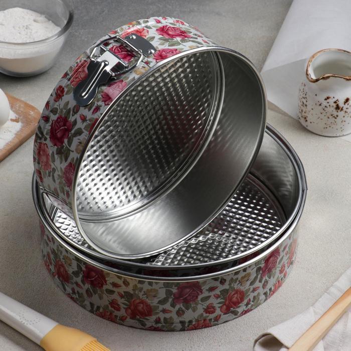 Набор форм для выпечки разъёмных «Розарий», 3 шт: 22, 24, 26 см - фото 308043481