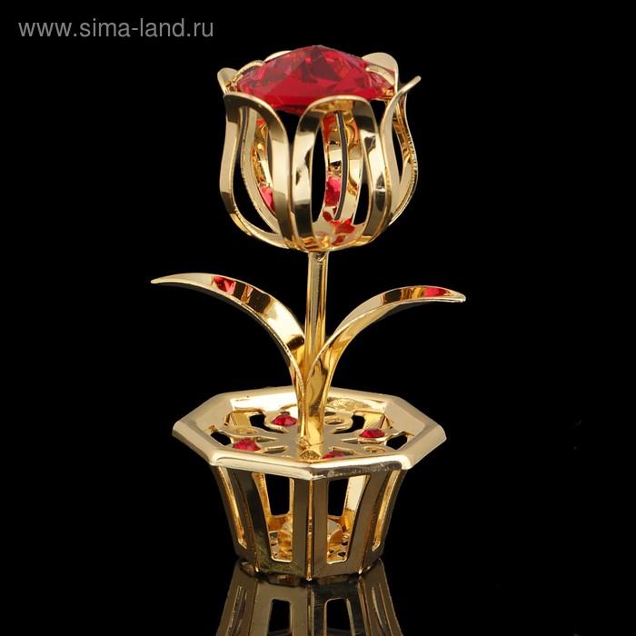 Сувенир «Цветок», 2×2×5 см, с кристаллами Сваровски