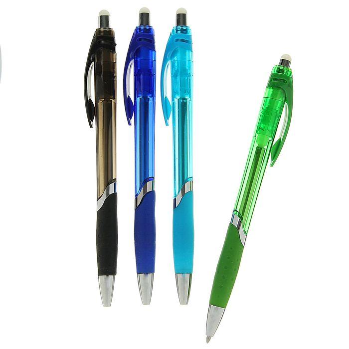 Ручка шариковая ПИШИ-СТИРАЙ 0,8мм автомат стержень синий корпус тонированный с резиновым держателем