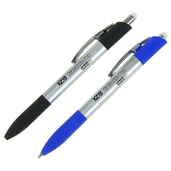 Ручка шариковая ПИШИ-СТИРАЙ 0,8мм автомат стержень синий корпус серебристый МИКС