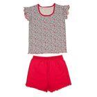 """Пижама для девочки """"Сказочные сны"""", рост 104 см (54), цвет меланж/малиновый  ДНЖ353007н"""