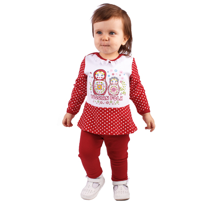 """Джемпер для девочки """"Матрёшка"""", рост 80 см (50), цвет белый/красный ДДД650067_М"""
