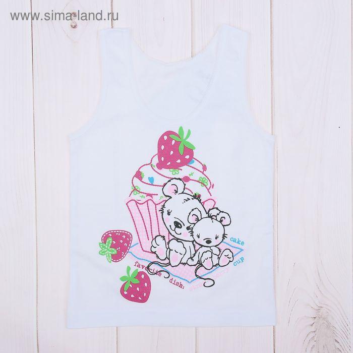 """Майка для девочки """"Мышата и сладости"""", рост 92 см (50), цвет белый ДНМ665001_2_М"""