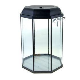 Аквариум восьмигранный с крышкой, 130 литров, 45 х 45 х 80/86 см, чёрный