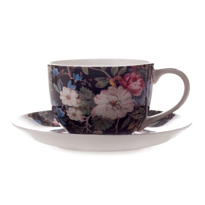 """Чашка с блюдцем """"Полночные цветы"""""""