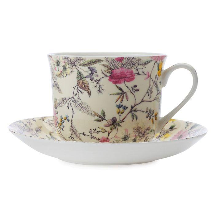 """Чашка с блюдцем Летние цветы"""" большая"""