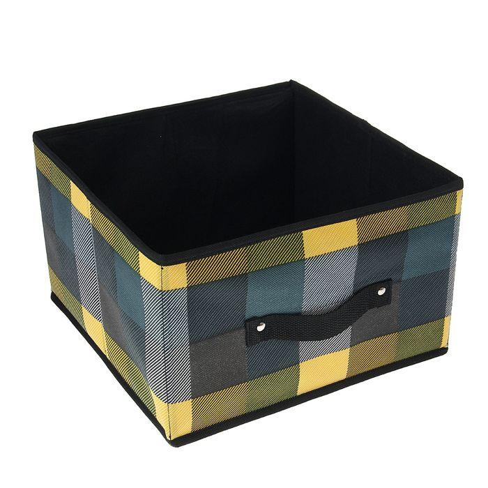 """Короб для хранения 29×29×18 см """"Клетка"""", цвет зелёный"""