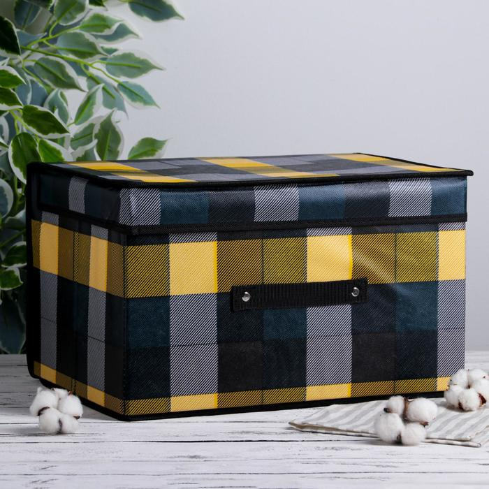 """Короб для хранения с крышкой 40×30×25 см """"Клетка"""", цвет зелёный"""