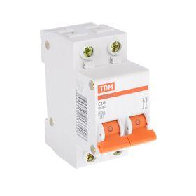Выключатель автоматический TDM ВА47-63, 2п, 16 А, 4.5 кА