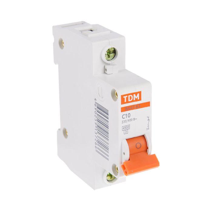 Выключатель автоматический TDM ВА47-63, 1п, 10 А, 4.5 кА, SQ0218-0002