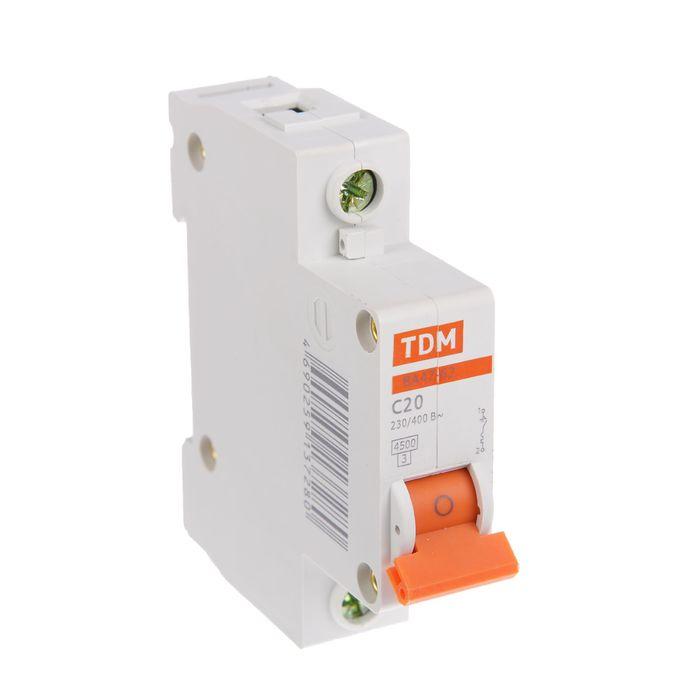 Выключатель автоматический TDM ВА47-63, 1п, 20 А, 4.5 кА, SQ0218-0004