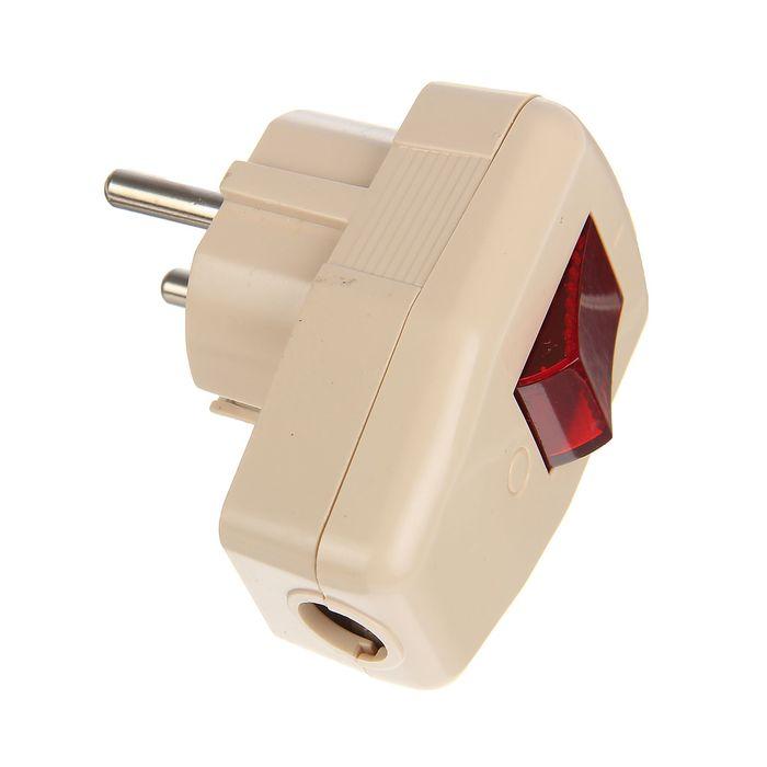 Вилка угловая TDM, 16 А, 250 В, IP20, с з/к, с выкл., бежевая