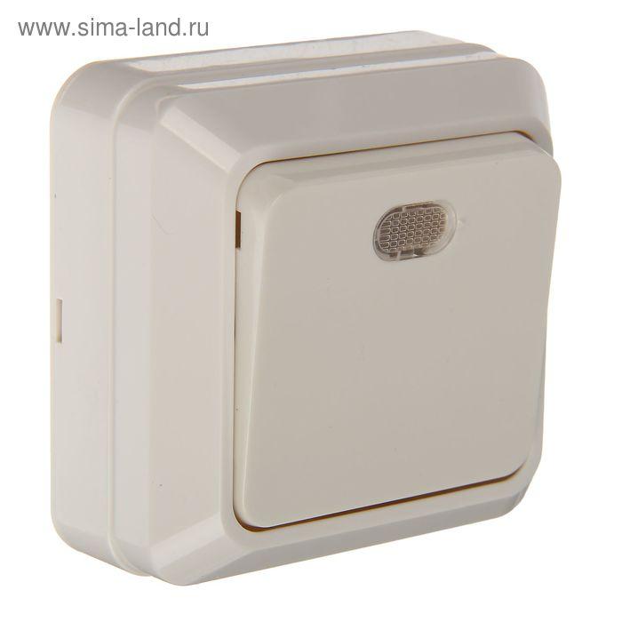 """Выключатель TDM""""Ладога"""", 10 А, IP20, 1 клавиша, открытый, с подсветкой, белый, SQ1801-0009"""