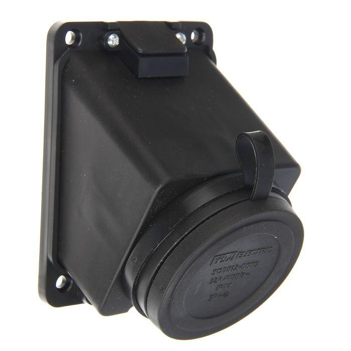 Розетка настенная TDM 3Р+РЕ, IP44, 32 А, 380 В, с заглушкой, каучук, SQ0612-0009