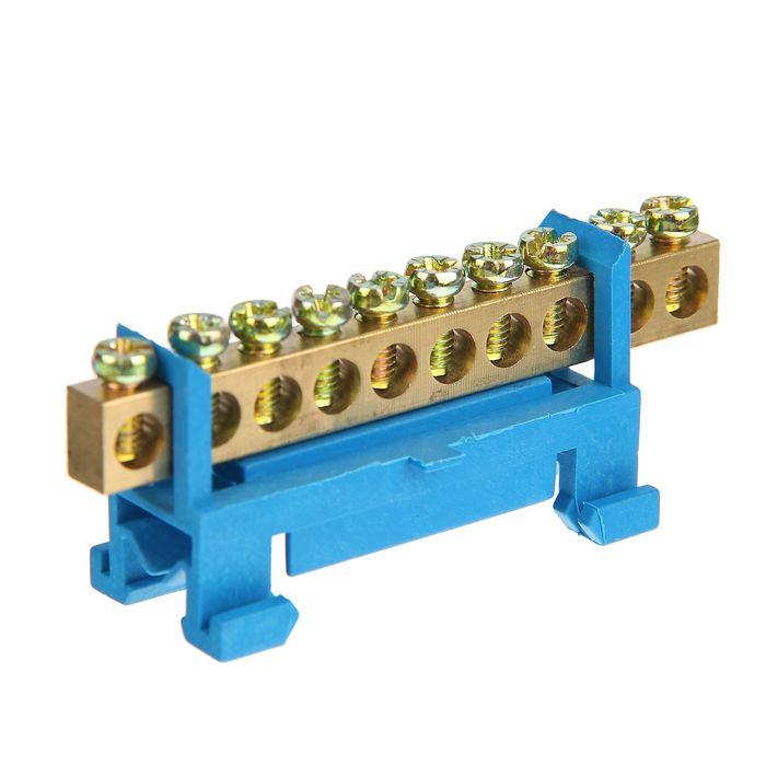 """Шина """"N"""" нулевая TDM, 6x9 мм, 10 групп, с изолятором, стойка мал., SQ0801-0013"""