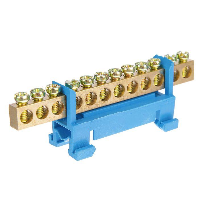 """Шина """"N"""" нулевая TDM, 6x9 мм, 12 групп, с изолятором, стойка мал., SQ0801-0014"""