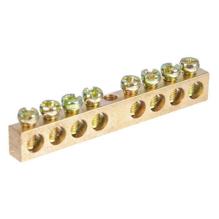 """Шина """"N"""" нулевая TDM, 6х9 мм, 8/1, 8 групп/крепеж по центру, SQ0801-0002"""