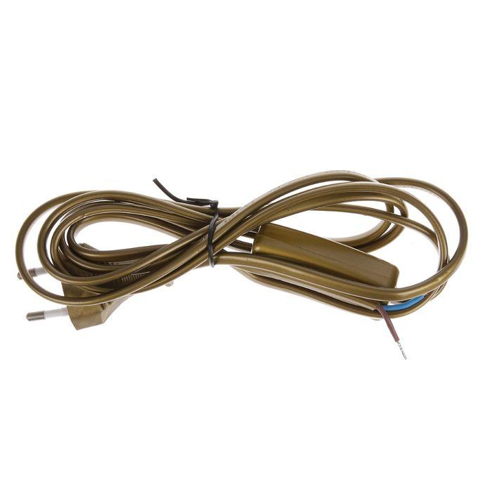 Шнур с выкл. TDM, ШВВП 2х0.75мм2, плоская вилка, 2м, цвет бронза, SQ1305-0003