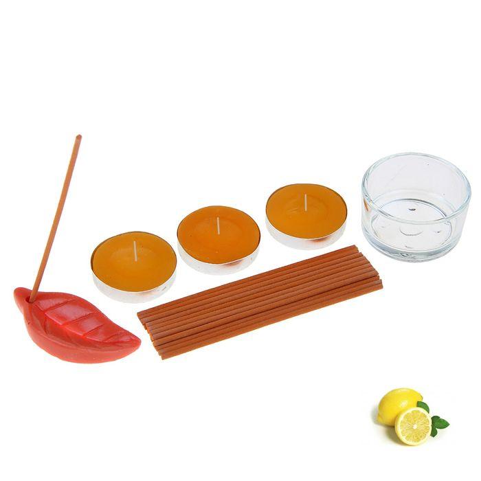 """Набор благовоний """"Пробуждение"""": 10 аромапалочек, 3 свечи, подсвечник, подставка, аромат лимон"""