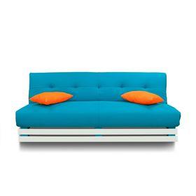 Диван «Манго 1», обивка бирюзовая, подушки оранжевые