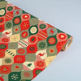 Бумага упаковочная крафт 'Лапландия', красно зелено-золотая, 0.5 х 10 м Ош