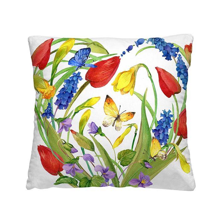"""Подушка декоративная """"Красные тюльпаны"""", размер 40х40 см, габардин"""