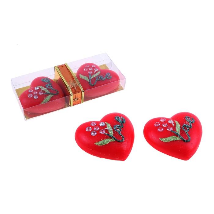 """Свечи восковые (набор 2 шт) """"Цветок любви"""", цвет красный"""