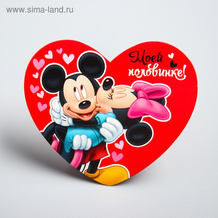 "Открытка-валентинка""Моей половинке"" Микки Маус, Минни Маус, 7х6см"