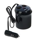 Разветвитель прикуривателя TORSO, в подстаканник, 2 гнезда + 2 USB, 12/24 В